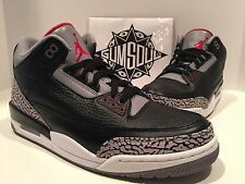 NIKE AIR JORDAN 3 RETRO III BLACK VARSITY RED CEMENT GREY 2011 136064 010 sz 13