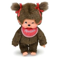 "Original Sekiguchi 8"" tall girl Monchhichi Doll with red bib, a Monchichi monkey"