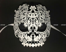 Skull Full Face Metal Venetian Masquerade Costume Womens Mens Hollow White Mask