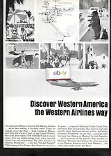 WESTERN AIRLINES  BOEING 720B FAN/JET DISCOVER WESTERN AMERICA 1966 AD