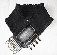 80S STYLE BELT M STRETCH ROUCHED EXTRA WIDE SILVER METAL CLASP STEAM PUNK GOTH