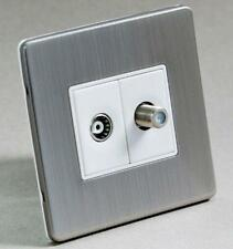 BRUSHED STEEL 2-GANG AERIAL COAXIAL TV SATELLITE SKY SOCKET WALL FACE PLATE