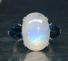 Sterling Silver 925 Elevated Moonstone Trillion Blue Topaz Edge Cocktail Ring 7