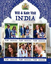 Grenada 2016 MNH Prince William & Kate Visit India 6v M/S Royalty Stamps