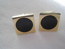 Vintage Foster Square Gold-Tone Cufflinks with Round Onyx Stones
