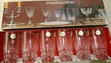 6 cristal d'arques 24% cristal au plomb pompadour gobelets cordial 29cl 12cm vintage