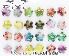 Tie dye stars small post stud earrings 12 pair party favors plastic clutch a