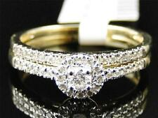 Ladies 10K Yellow Gold Diamond Solitaire Halo Engagement Wedding Bridal Ring Set