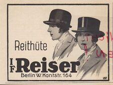 BERLIN, Werbung 1930, I F Reiser  Reit-Hüte Kleidung Ausstattung Garderobe