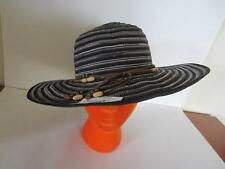"NEW Vintage Style Ladies Straw Hat Black Tan Stripes Leather beaded Band 22"" NWT"