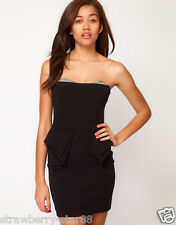 River Island Bandeau Peplum Dress UK Taq Price £50 UK 6 EU 34 USA 2 Black