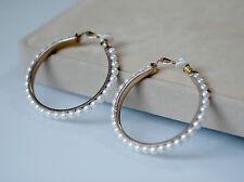 Boucles d`Oreilles Clips Doré Anneau Créole Perle Blanc Retro Style Original