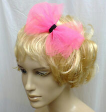NEW CUTE BIG 6in NEON PINK TULLE NET PARTY FABRIC BOW HANDMADE ALICE HAIR HEAD