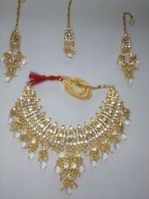 Indian Fashion Clear Cz Gold Bollywood Wedding Necklace Jewelry Set 4 Pcs
