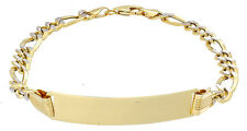 "ID Bracelet Figaro Link 1/10th 10K Yellow Gold 9"" Two Tone 8.75mm Engraveable"