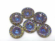 6 VTG Gorgeous Kaleidoscope of Color Clear Glass top Intaglio Button Silver Back