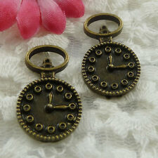 Free Ship 90 pieces bronze plated clock charms 26x16mm #646