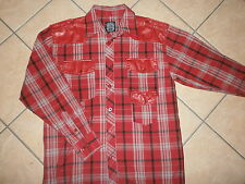 Mens NOIZ SHIRT Red Plaid Urban Lumberjack Hip Hop Faux Leather Trim LARGE