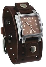Nemesis BBB516B Men's Dark Brown Wide Leather Cuff Band Analog Brown Dial Watch