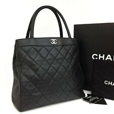 CHANEL Quilted Matelasse CC Logo Lambskin Tote Hand Bag Black /393