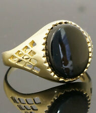 9 carats Or Jaune Ovale Onyx Chevalière (Taille P) 9x11mm Head