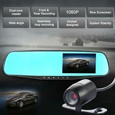 "4.3"" 1080P Dual Lens Car DVR Rearview Mirror + Camera Video Recorder Dash Cam MT"