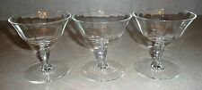 Set of 3 Vintage Low Champagne Sherbet Stemware Glasses Clear Optic Lines
