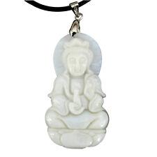 Natural Sea Shell Tibet Buddhist Guanyin Kwan Yin Bodhisattva Amulet Pendant