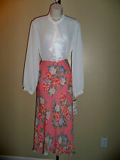 JONES NEW YORK SIGNATURE PEACH FLORAL PRINT LINED LONG SKIRT 4P NWT $99 GORGEOUS