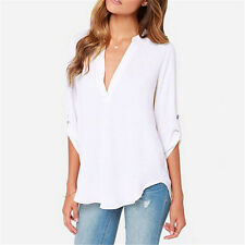 Plus Size Womens V Neck Chiffon Blouse 3/4 Sleeve Loose T Shirt Pullover Tops
