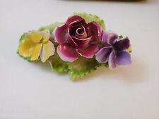 British Vintage Bone China Brooch Rose Violet Flower Pin ENGLAND