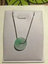 Chinese Style  Gift Vintage Green Burma Jade Necklace Sterling Silver (JP52)