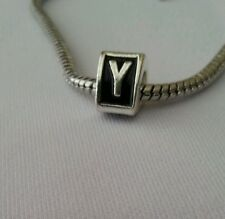 Alphabet Letter Y Triangle Initial Bead For Silver European Charm Style Bracelet