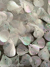 Sequins Shell 14mm White Iridescent AB Rainbow Translucent Italian Read Descript