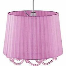 Elegant Lilac Pleated Organza Pendant Shade with Lilac Hanging Beads