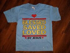 BLESSED SAVED LOVED BY JESUS T-SHIRT YOUTH JESUS Christ Christian T-shirt BLUE