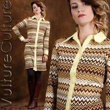 RARE Vintage 60s Dolly Mod Dress Geometric ZigZag Sweater Knit Boho Hippie XL