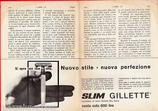 Pubblicità Advertising 1964 Slim GILLETTE