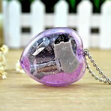 Mini Acrylic Wind Up Heart Shape Musical Box Key Chain Beautiful Melody Keychain