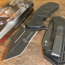 USMC Marines Tactical SPRING Assisted Opening KNIFE SCRAPPER MTech Serrated NEW