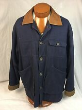* CHAPS * by Ralph Lauren Navy Blue 100% Cotton Long Coat w/ Leather Collar Med.
