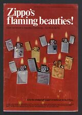 1969 ZIPPO CIGARETTE LIGHTER AD~CHISTMAS~SKIING~WINDPROOF~GOLD SHIMMER