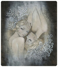"""New Audrey Kawasaki """"2 Sisters"""" Print ( Amy Sol,Josh Keyes, Kaws, Miss buggs)"""
