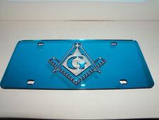 Masonic Mirror Laser License Plate Color's Blue/Silver  NEW!!