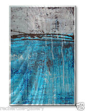 Metal Wall Art Decor USA Made Abstract Modern Blue Silver Lithosphere 12