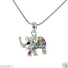 Elephant W Swarovski Crystal Luck Animal Pendant Necklace Multi Color Gift