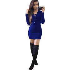 Sexy Women Party Dress Lady Winter Knitted Lace Up Bodycon Jumper Sweater Dress