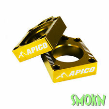 Apico Rear Axle Adjuster Blocks Suzuki RM 125 250 02-08 Yellow Gold Anodised