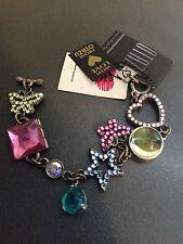 RODRIGO OTAZU Swarovski Crystal Embellished Butterfly Star Heart Charm Bracelet