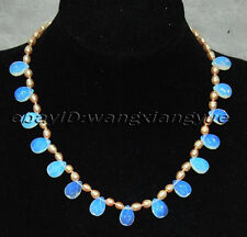 """Charming!Natural Pink Pearl & Faceted Teardrop Moonstone Pendants Necklace 18"""""""